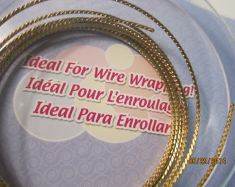 Square, Fancy, Non-Tarnish Brass Wire, 1x1mm diameter, 18 gauge - Available in 4 foot Coils