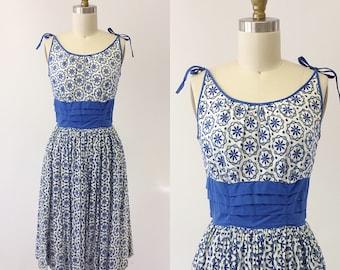 1950s Blue and White Eyelet Cotton Sun Dress