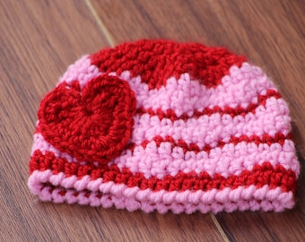 Crochet baby hat, Newborn preemie hat, Twins baby hats, valentines newborn  infant hat, Crochet photo prop, valentines day gift for baby