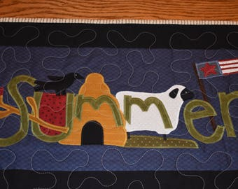 """SUMMER Quilted Wall Warmer with a Crow, Watermelon, Beehive, Lamb and Flag  20.5"""" long by 15"""" high"""
