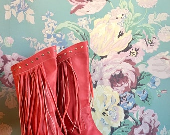 Red Fringe Western Boots -size 6