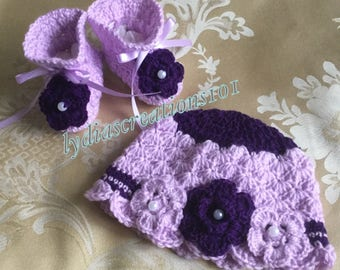 Newborn crochet hat booties set/ preemie crochet hat bootie set/ 3 month crochet hat bootie set,photoprop,babyshowergift,crochetBabyClothes