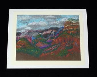 Twin Butte Sedona Landscape Art Card, Plein Air Pastel by Arizona Artist, Karlene Voepel