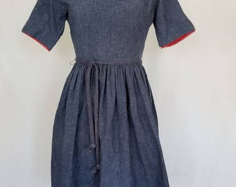 50s Chambray Dress // 1950s Dress // 50s Dress // 50s Day Dress // 50s Chambray Dress with Red Detailing // 50s Summer Dress