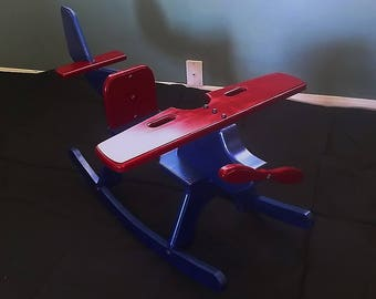 Painted Handmade Wooden Airplane Children's Rocker