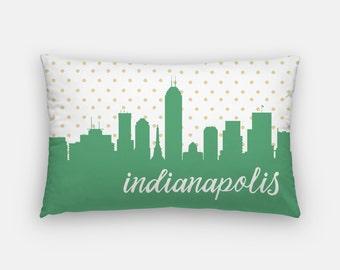 Indianapolis skyline pillow | Indianapolis skyline decor | Indiana home decor | Indiana gifts | gold polka dot pillow | Indianapolis decor