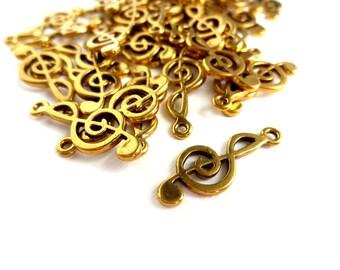 5 Pcs Gold Treble Clef Pendants / Charms