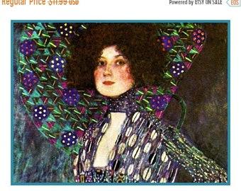 SUMMER SALE Portrait of Emilie Floge detail inspired by Art Nouveau Artist Gustav Klimt Counted Cross Stitch Pattern
