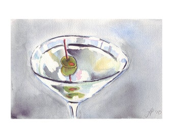 Martini Watercolor Painting with Olives Watercolor Art, 8x10 Print