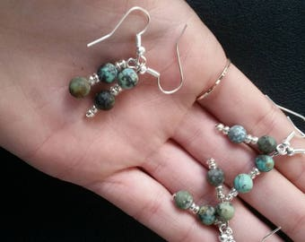 Silver plated Turquoise crystal bead earrings