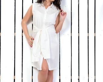 Plus Size Dress, Short Summer Dress, White Cotton Dress, Short Plus Size Dress, Oversized Dress, Shirt Dress, Knee Length Dress, White Dress