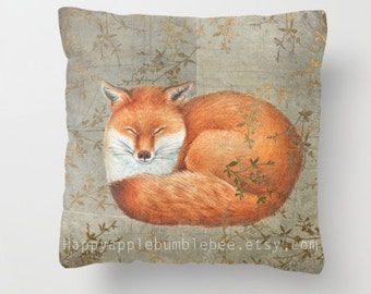 Throw Pillow Cover with pillow insert Indoor. PRINT art..Red Fox Among Thorns - animal - woodland - art - fine  - babies -