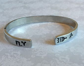 "Inspirational Quote Cuff - ""FLY"""