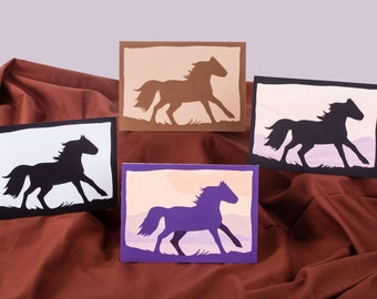 Blank All Occasion Horse Greeting Card, Silhouette Card 5x7, Horse Papercut Scherenschnitte Greeting Card, 5x7 Blank Greeting Card