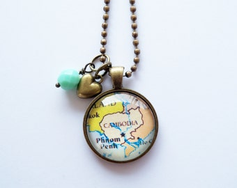 Map of Cambodia - Map Pendant Necklace - Custom Jewelry - Travel Necklace - Adoption Jewelry - You Choose Bead and Charm - Customizable