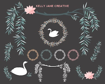 Wedding Clipart | Swan Clipart | Floral Clip Art | Willow Clip Art |  Digital Clip Art | Vector Graphics | Wreath Clip Art