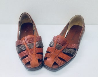 Huarache Sandals Huaraches Braided Leather Flats Shoes Size 7.5 Naturalizer