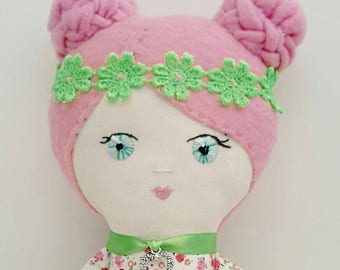 Handmade doll Ideal gift for any age Beautifully hand stitched green and pink ragdoll fabric doll birthday gift ragdoll Birthday gift.