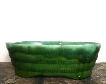 Large Vintage Lava Planter - Deep Green & Light Blue
