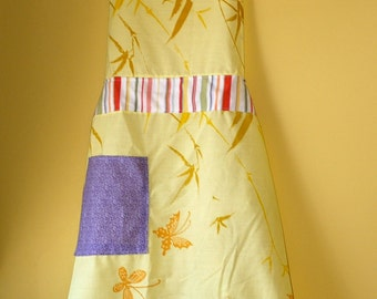 Funky Upcycled Fabric Apron.  100% Recycled. Ready to ship.