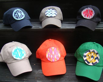 Monogrammed Hat with Circle Patch