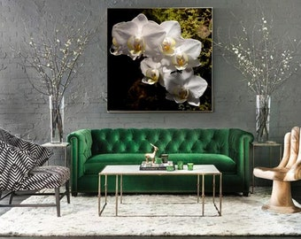 Wall canvas XL picture White orchids flower,Modern home decor, Spa art calming wall art bedroom, boho style home, botanical prints on canvas