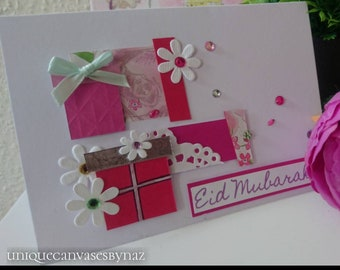 """Pink Presents. Handmade Eid Card. For her. Contemporary Greeting cards. Festive card.Blank inside. 5""""x7 approx"""