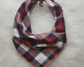 Red Plaid with Glitter//Dog Bandana