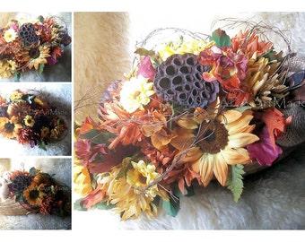 Silk Flower Cornucopia MADE to ORDER Dining Table Centerpiece Buffet  Arrangement~Thanksgiving Holiday Floral~Fall Autumn Seasonal Table