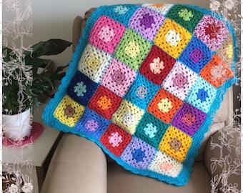 Crochet Granny Square Baby Blanket Rug Throw 80cm x 65cm