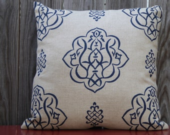 Navy medallion printed linen pillow cover