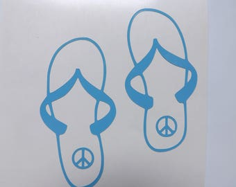 Flip Flops Peace sign decal, Vinyl Decals, Peace decal,flip flops,car decal, yeti decal, laptop decal, window decal, tumbler decals,