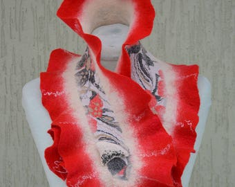 Red white Black Scarf, Nuno Felted scarf, Ruffled edges scarf with glass beaded brooch