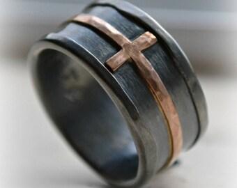 mens cross wedding band - rustic hammered cross ring, oxidized fine silver, sterling, 14K rose cross ring, handmade wedding band, Jesus