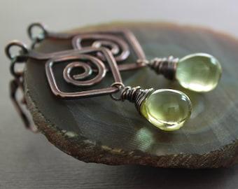 Geometrical Greek design copper earrings with lemon Czech glass drops - Dangle earrings - Greek earrings - Drop earrings - ER103