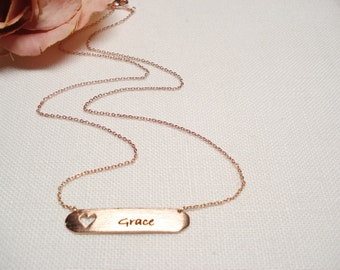 Personalized Rose Gold bar necklace...Engraved Bar, sorority, best friend gift, wedding, bridesmaid gift