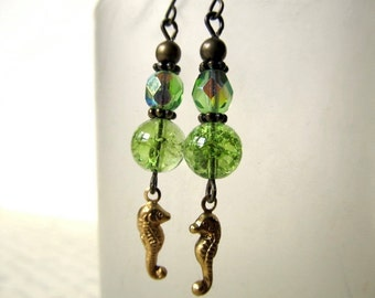 Art Deco Earrings Green Gold Art Nouveau Seahorse Earrings Ocean Jewelry Sea Horse Earrings Green Crystal-Summer