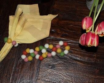 Handmade Set of 4 Spring Wool Felt Ball Napkin Rings