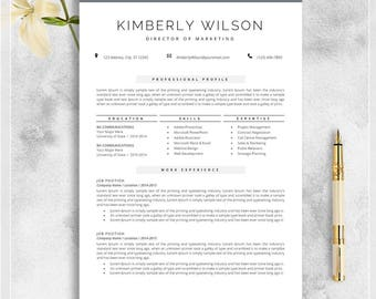 Resume Template for MS Word, Professional CV Template, Creative Resume, Modern Design, Teacher Resume, Instant Download