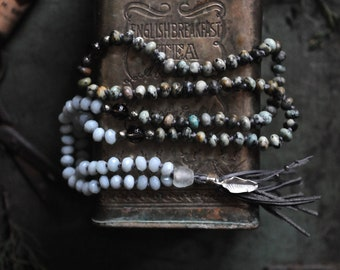 108 Mala Beads/Yoga Necklace/Boho/Tribal Necklace/Silver Leaf, African Turquoise and Smoky Quartz Buddhist Japa Mala/Prayer Beads