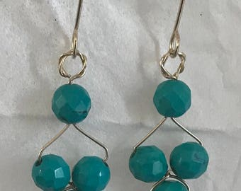 Turquoise Dangle 14 karat Gold Filled Earrings
