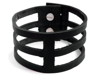 Geometric Leather Cuff - Cage Bracelet - Bold and Edgy Cutout Leather Bracelet