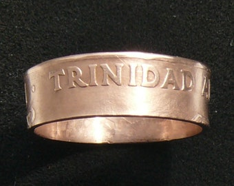 Ladies Bronze Coin Ring 1966 Trinidad and Tobago 5 Cents,Ring Size 5 1/2 and Double Sided
