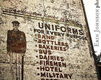 downtown birmingham alabama, vintage advertisement, wall mural, rustic home decor, industrial wall decor, Uniforms