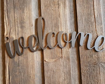 "Metal wall art, ""Welcome"" wall sign, hand finished"