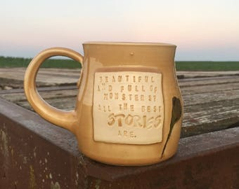 Large Mug-Beautiful and Full of Monsters?  All the Best Stories Are-Ginkgo Leaves- Yellow, Gold-Pottery Handmade by Daisy Friesen