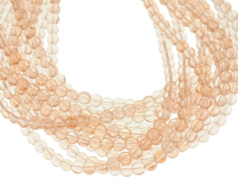 Clear Light Pink 8mm Round Glass Beads - Full 16 inch strand - Approximately 54 beads