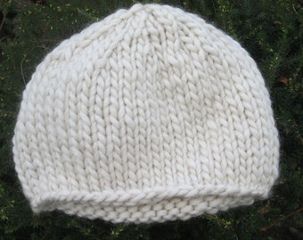 Gift for Mothers Day - Ladies handknitted beanie hat in cream