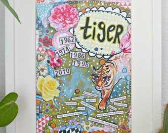 Chinese Astrology year of the Tiger art print, unique gift.