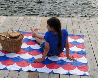 Nautical Picnic Blanket, ORGANIC Picnic Blanket, Americana, (Ready to Ship)